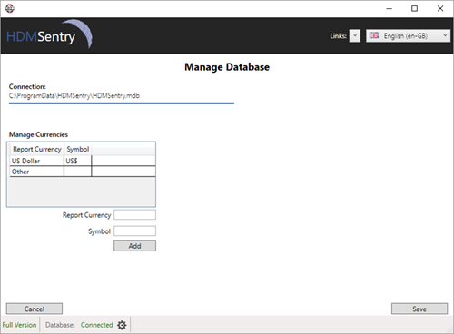 HDM-Sentry - Customisation – Currency & Datasets